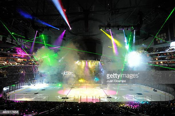 The Los Angeles Kings second annual holiday pyrotechnic and laser light show is seen after a game between the Los Angeles Kings and the San Jose...