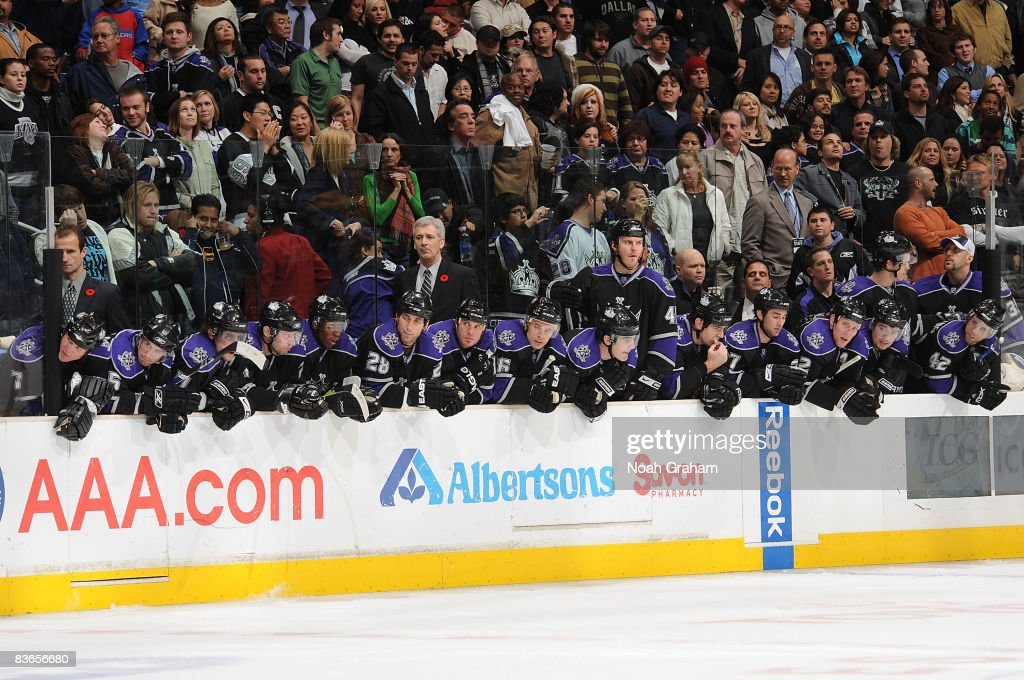 The Los Angeles Kings sit on the bench during the game against the Dallas Stars on November 11 2008 at Staples Center in Los Angeles California