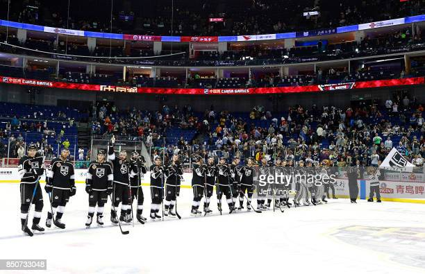 The Los Angeles Kings stand on the blue line after their 52 win over the Vancouver Canucks in their preseason game at the MercedesBenz Arena...