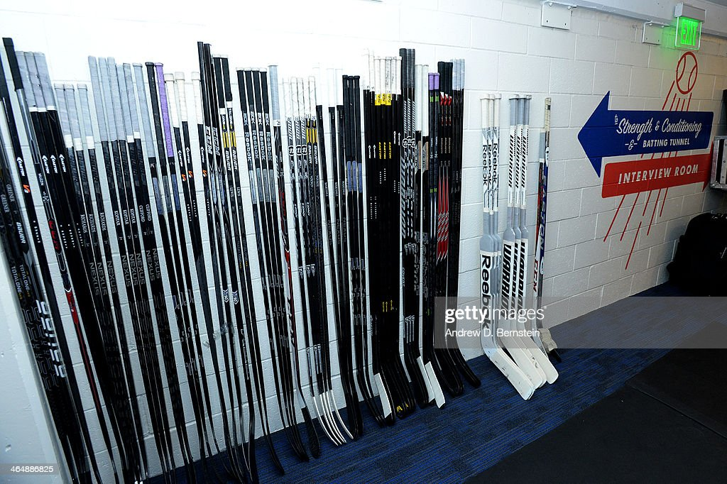 The Los Angeles Kings sticks are set out in the hallway prior to practice in preparation for the 2014 Coors Light NHL Stadium Series against the Anaheim Ducks at Dodger Stadium on January 24, 2014 in Los Angeles, California.