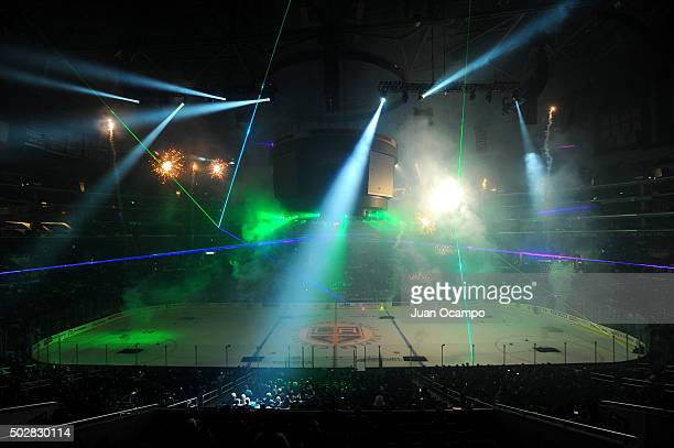 The Los Angeles Kings third annual holiday pyrotechnic and laser light show is seen after a game between the Los Angeles Kings and the San Jose...