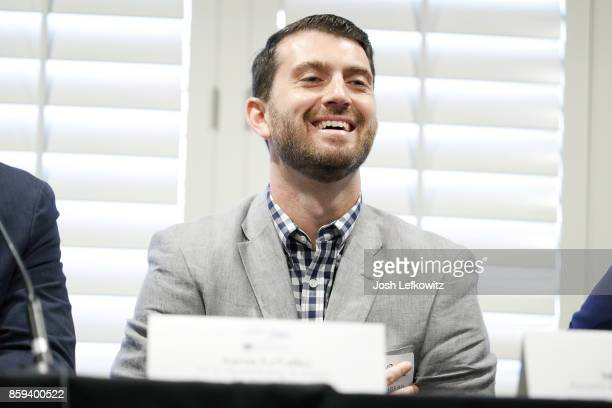 The Los Angeles Kings VicePresident of Digital Strategy and Analytics Aaron LeValley speaks during the Sports Career Conference at the W Los Angeles...