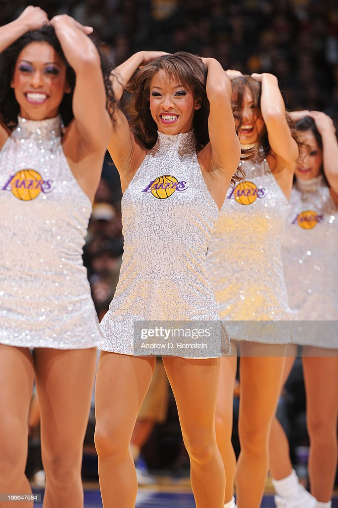The Los Angeles Laker Girls perform during a break in action of a game between the San Antonio Spurs and Lakers at Staples Center on April 14, 2013 in Los Angeles, California.