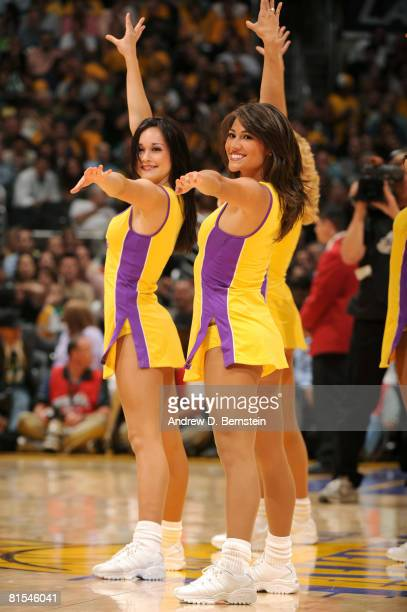 The Los Angeles Laker Girls perform during a break in the action in Game Four of the 2008 NBA Finals against the Boston Celtics at Staples Center on...