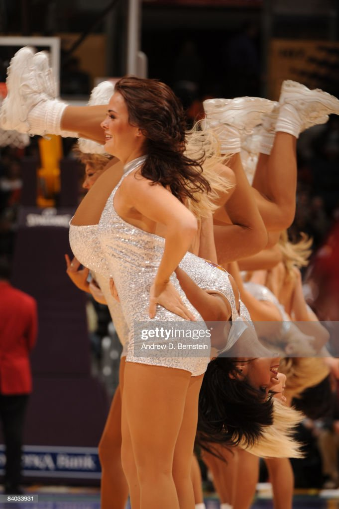 The Los Angeles Laker Girls perform during a break in the action of a game against the Minnesota Timberwolves at Staples Center on December 14 2008...