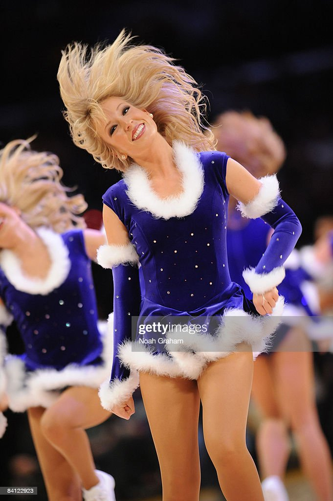 The Los Angeles Laker Girls perform during a break in the action of the game against the Boston Celtics at Staples Center on December 25 2008 in Los...