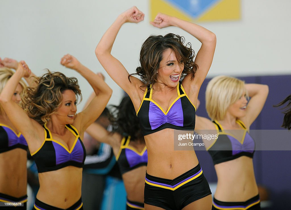 The Los Angeles Laker Girls perform during the game between the Los Angeles D-Fenders and the Sioux Falls Skyforce on January 5, 2013 at Toyota Sports Center in El Segundo, California.