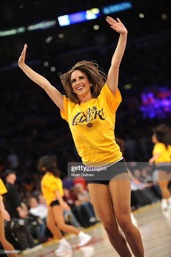 The Los Angeles Laker Girls perform in a game against the Chicago Bulls at Staples Center on March 10, 2013 in Los Angeles, California.