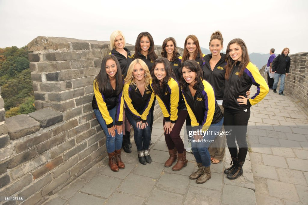 The Los Angeles Laker girls poses for a photo as they visit the Great Wall as part of 2013 Global Games on October 13, 2013 at the Great Wall in Beijing, China.