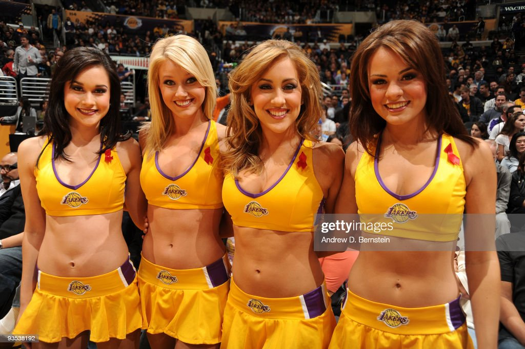 The Los Angeles Laker Girls wear red ribbons marking World AIDS Awareness Day before a game against the New Orleans Hornets at Staples Center on December 1, 2009 in Los Angeles, California.