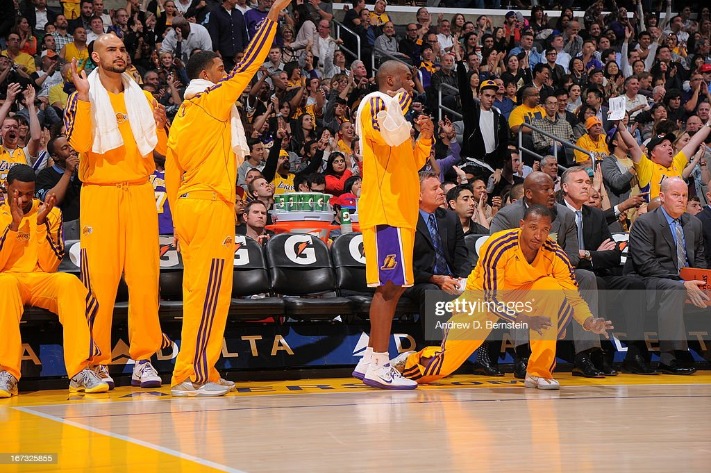 The Los Angeles Lakers bench reacts during the game against the Washington Wizards at Staples Center on March 22, 2013 in Los Angeles, California.