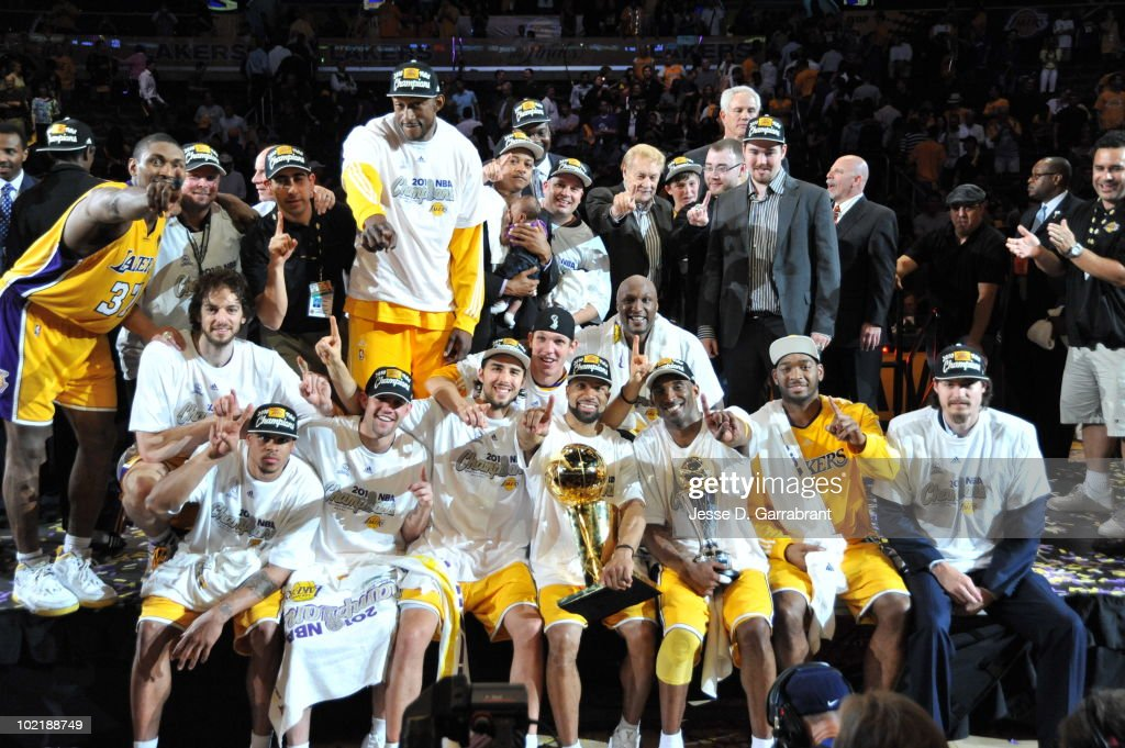 The Los Angeles Lakers celebrates after defeating the Boston Celtics 83-79 in Game Seven of the 2010 NBA Finals on June 17, 2010 at Staples Center in Los Angeles, California.