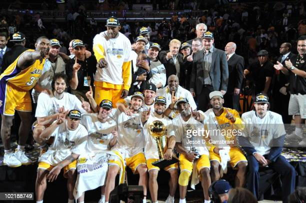 The Los Angeles Lakers celebrates after defeating the Boston Celtics 8379 in Game Seven of the 2010 NBA Finals on June 17 2010 at Staples Center in...