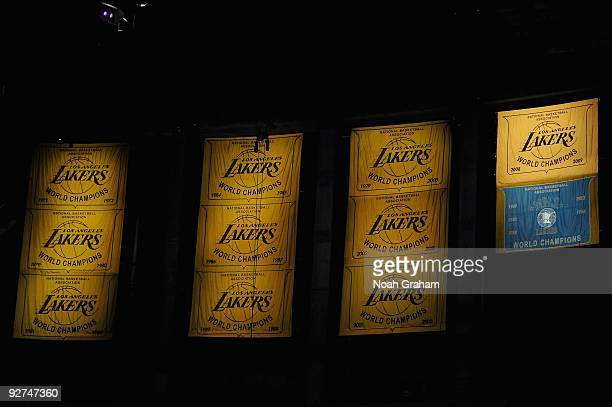 The Los Angeles Lakers' championship banners are displayed during the game against the Los Angeles Clippers on October 27 2009 at Staples Center in...