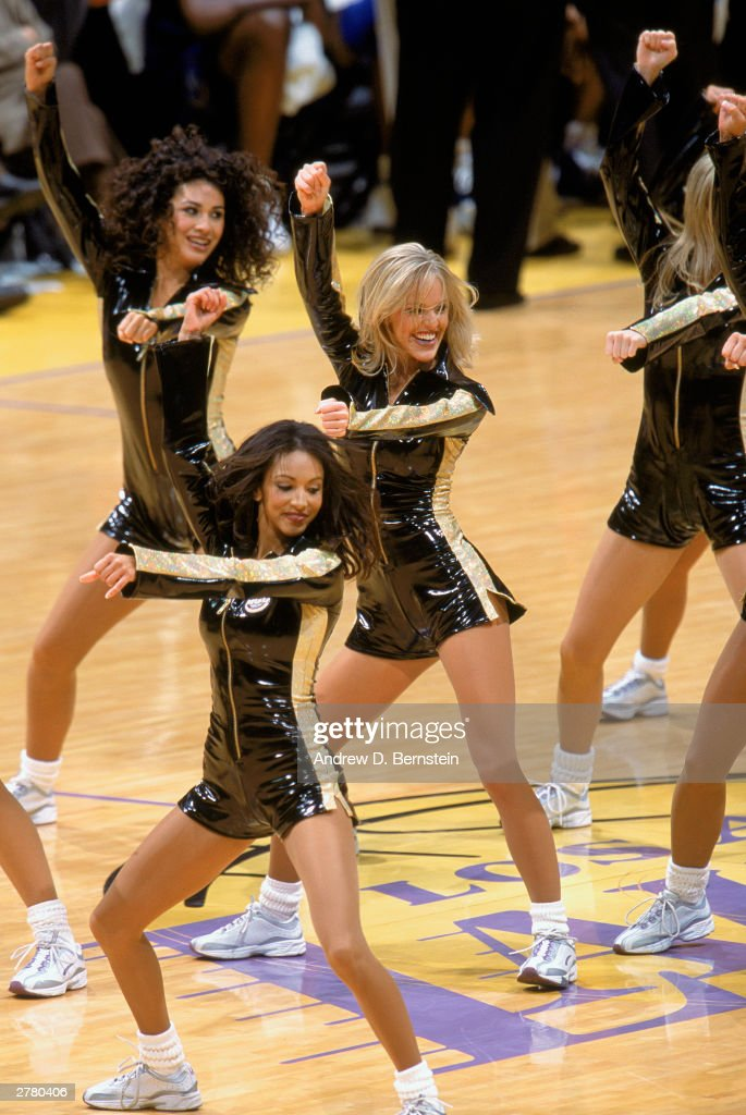 The Los Angeles Lakers cheerleaders preform their routine during the NBA game against the Washington Wizards at Staples Center on November 26 2003 in...