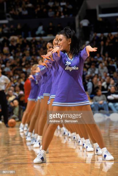 The Los Angeles Lakers cheerleaders the 'Laker Girls' preform their routine during the NBA game against the Philadelphia 76ers at Staples Center on...