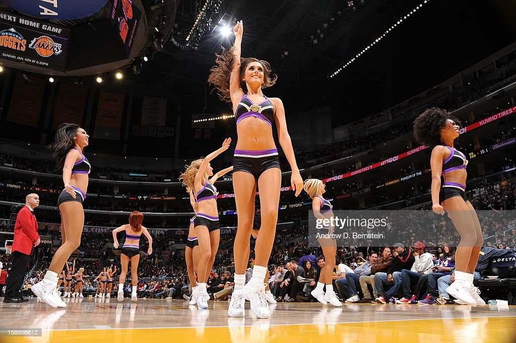 The Los Angeles Lakers dance team performs during the game against the Philadelphia 76ers at Staples Center on January 1, 2013 in Los Angeles, California.