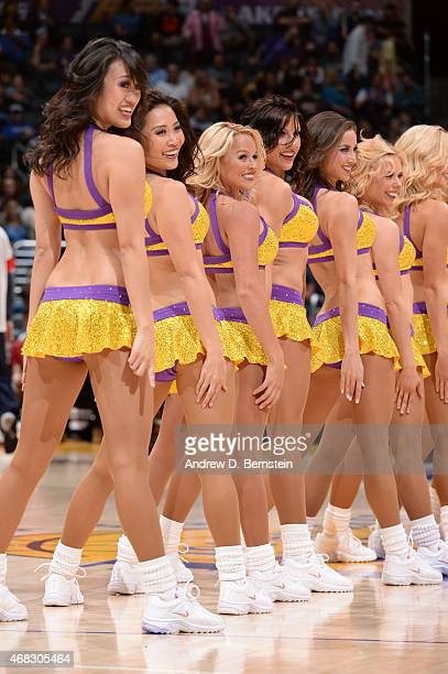 The Los Angeles Lakers dancers during the game against the New Orleans Pelicans at STAPLES Center on April 1 2015 in Los Angeles California NOTE TO...