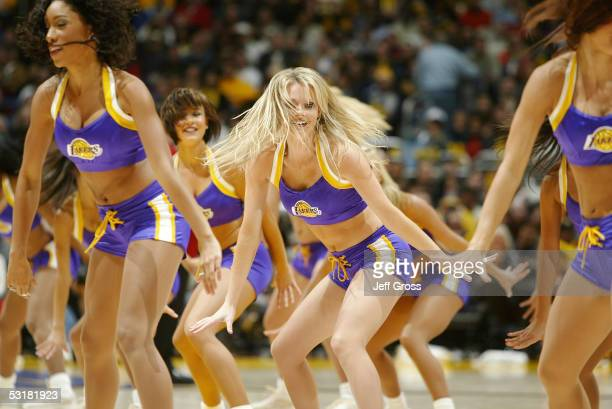 The Los Angeles Lakers' dancers the Laker Girls perform before play against the Memphis Grizzlies at Staples Center on December 20 2004 in Los...