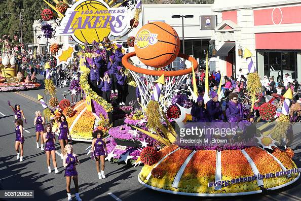 The Los Angeles Lakers float winner of the Judges' Special Award on the parade route during the 127th Tournament of Roses Parade Presented by Honda...
