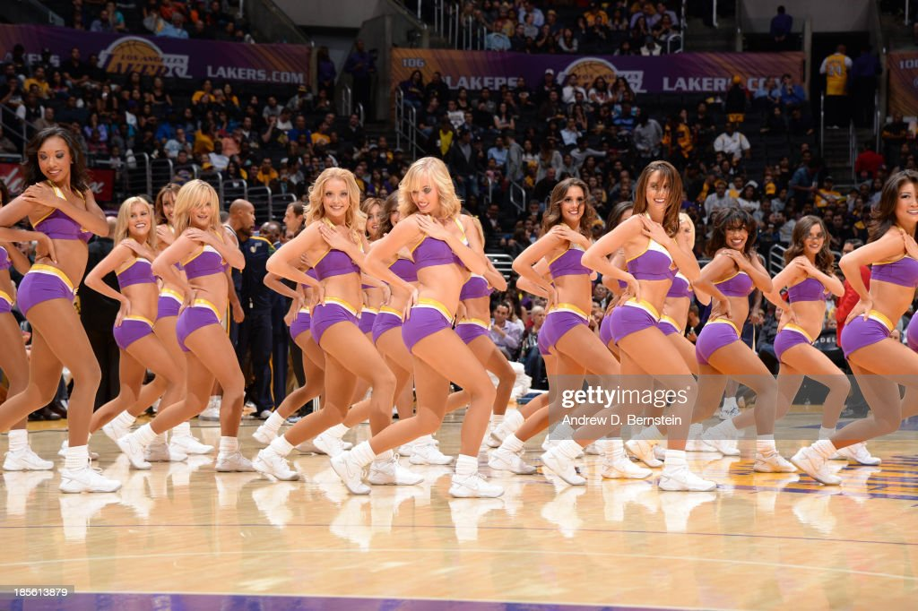 The Los Angeles Lakers Girls perform during a game against the Utah Jazz at Staples Center on October 22, 2013 in Los Angeles, California.