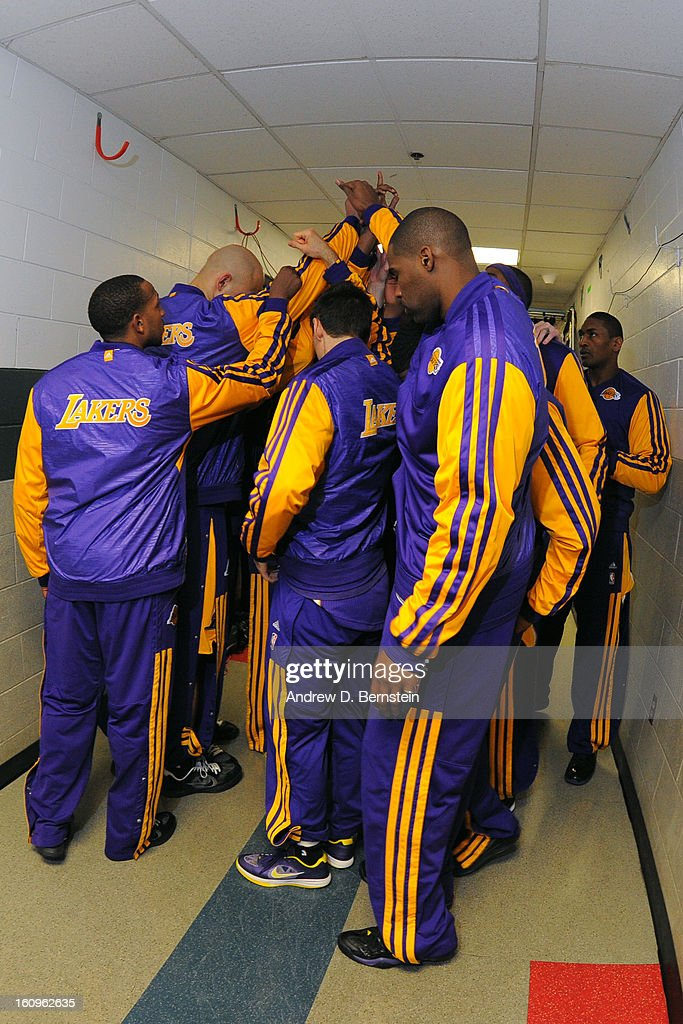 The Los Angeles Lakers huddle before the game against the Boston Celtics on February 7, 2013 at the TD Garden in Boston, Massachusetts.