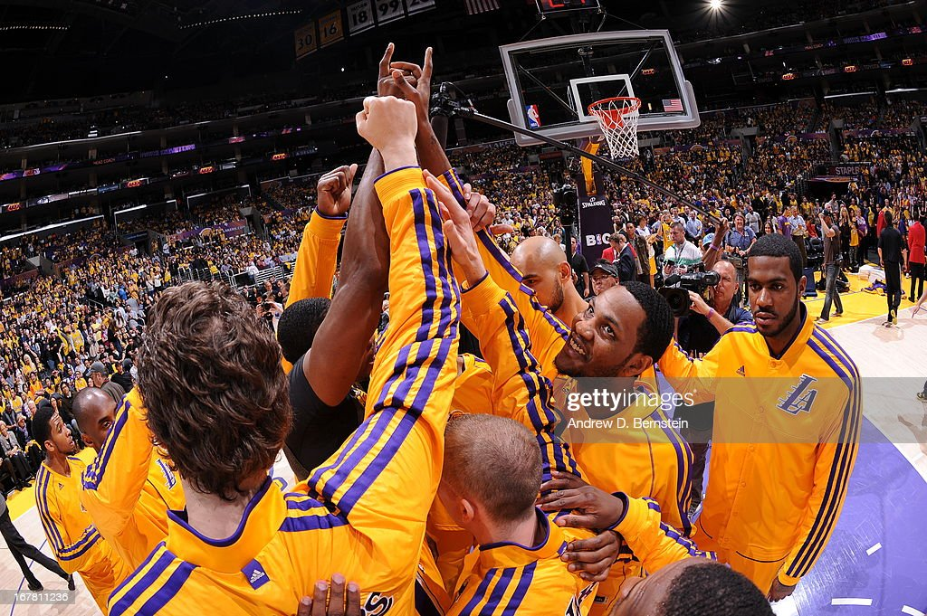 The Los Angeles Lakers huddle up before the game against the Dallas Mavericks at Staples Center on April 2, 2013 in Los Angeles, California.