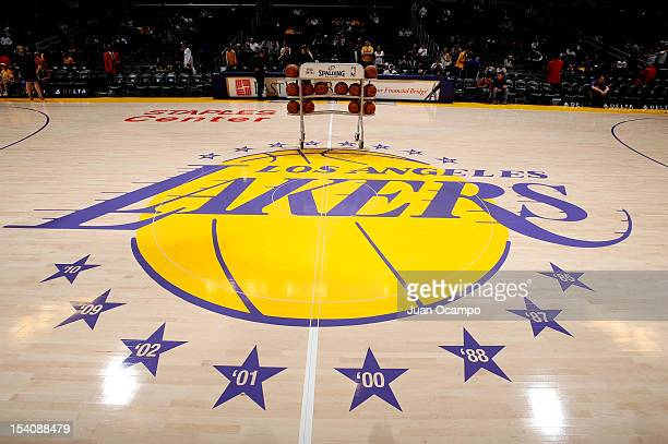 The Los Angeles Lakers logo is shown at mid court before a game between the Utah Jazz and the Los Angeles Lakers at Staples Center on October 13 2012...