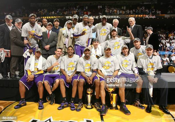 The Los Angeles Lakers pose for a team photo after the won 9986 to win the NBA Championship against the Orlando Magic in Game Five of the 2009 NBA...