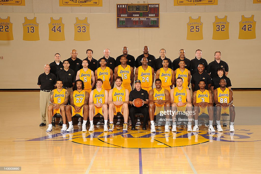 The Los Angeles Lakers pose for a team photo at Toyota Sports Center on April 16, 2012 in El Segundo, California. Back Row: Tim DiFrancesco (Strength and Conditioning Coach), Darvin Ham (Assistant Coach), Quin Snyder (Assistant Coach), John Kuester (Assistant Coach), Mike Brown (Head Coach), Chuck Person (Assistant Coach), Ettore Messina (Coaching Consultant), Phil Handy (Player Development Coach), Kyle Triggs (Assistant to the Head Coach), Marko Yrjovuori Gary Vitti (Athletic Trainer), Marco Nunez (Assistant Athletic Trainer), Steve Blake, Darius Morris, Metta World Peace, Kobe Bryant, Ramon Sessions, Andrew Goudelock, Carlos Maples (Equipment Manager), Dr. Judy Seto (Head Physical Therapist) Front Row: Matt Barnes, Jordan Hill, Troy Murphy, Pau Gasol, Jim Buss (Executive Vice President of Player Personnel), Andrew Bynum, Josh McRoberts, Devin Ebanks, Christian Eyenga.