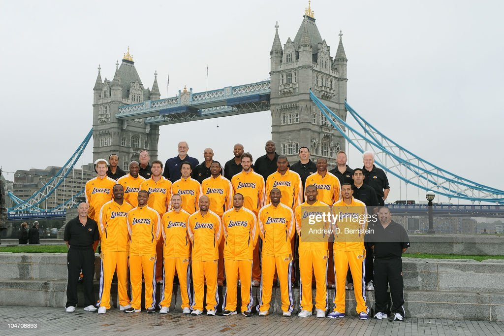 The Los Angeles Lakers pose for a Team photograph in front of the London Bridge on October 4, 2010 in London, England.