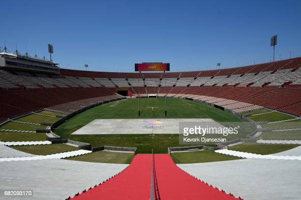 The Los Angeles Memorial Coliseum is shown by the LA2024 bidding committee to IOC Evaluation Commission and the media as part of their bid for the...