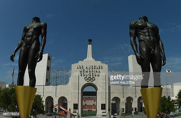 The Los Angeles Memorial Coliseum venue for two previous Olympic Games is seen in this on August 26 2015 in Los Angeles California The Coliseum would...