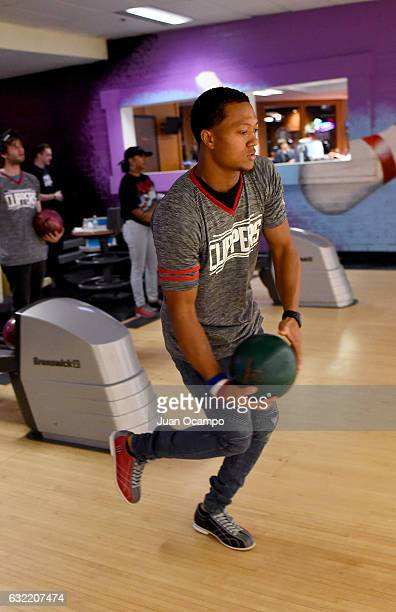 The Los Angeles Rams' Isaiah Johnson bowls during the LA Clippers Foundation Hosts Annual Charity Basketbowl Challenge Presented by Children's...