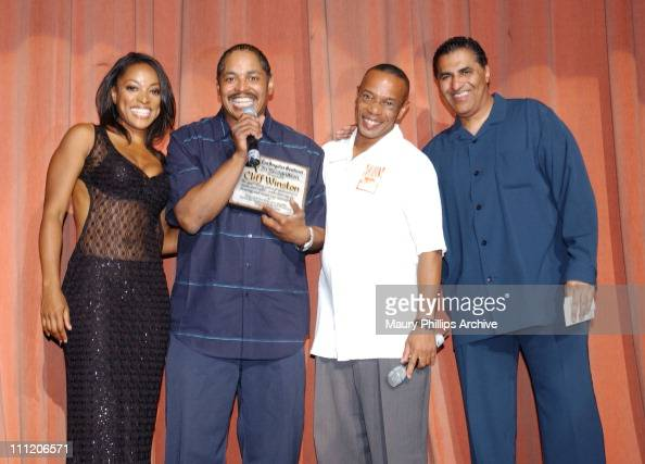 The Los Angeles Sentinel newspaper honors Cliff Winston KJLH radio personality for 25 years of service L to R Kellita Smith from 'The Bernie Mac...
