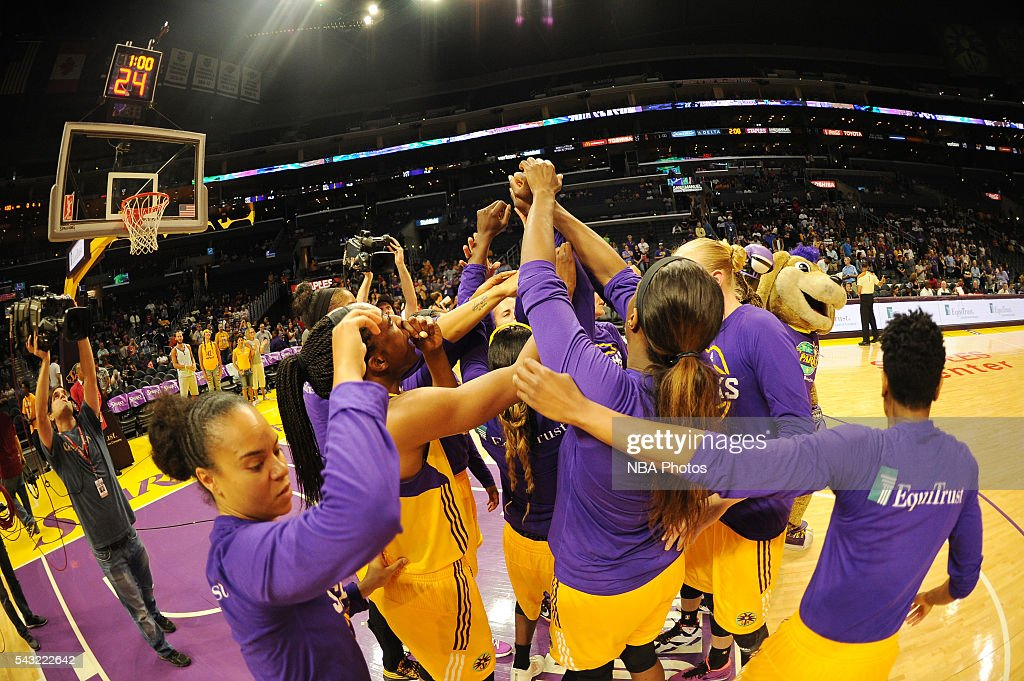 The Los Angeles Sparks huddle before the game against the Connecticut Sun on June 26, 2016 at STAPLES Center in Los Angeles, California.