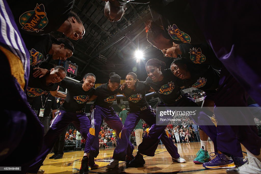 The Los Angeles Sparks huddle before the game against the Indiana Fever on July 15, 2014 at Bankers Life Fieldhouse in Indianapolis, Indiana.