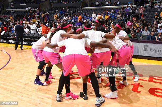 The Los Angeles Sparks huddle before the game against the San Antonio Stars on August 22 2017 at the STAPLES Center in Los Angeles California NOTE TO...