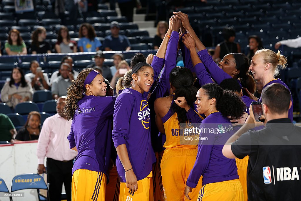 The Los Angeles Sparks huddle up before the game against the Chicago Sky on May 24, 2016 at the Allstate Arena in Chicago, Illinois.