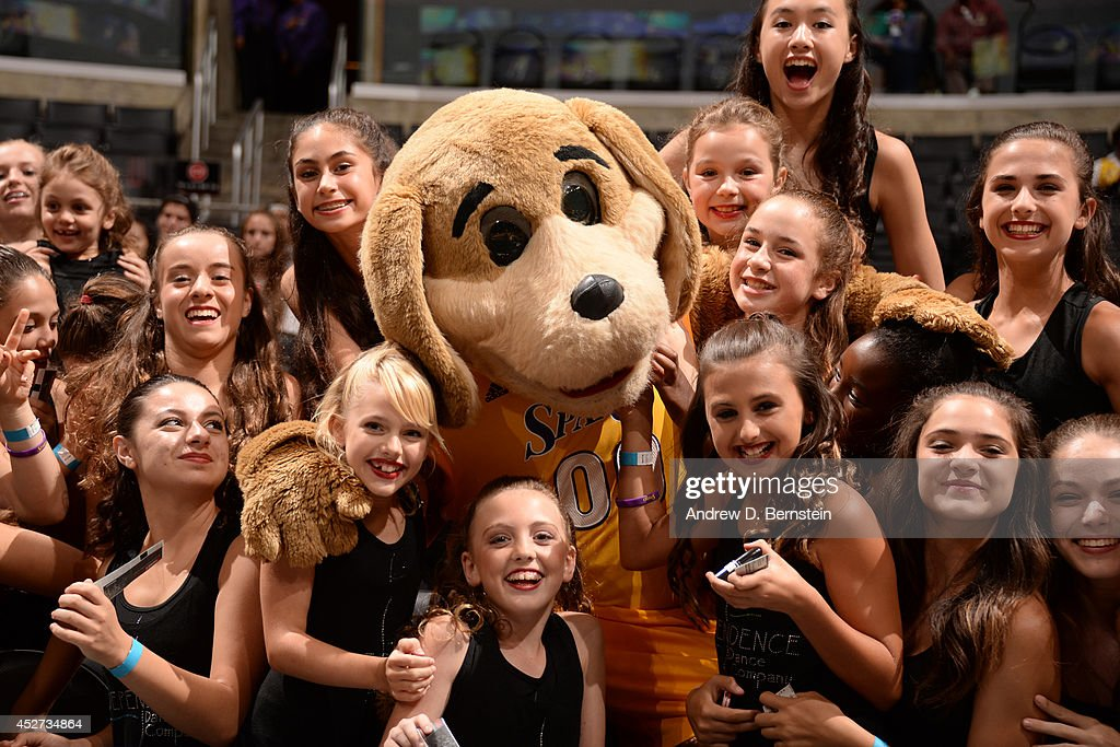 The Los Angeles Sparks mascot poses fot a photo before the game between the Los Angeles Sparks and the New York Liberty at STAPLES Center on July 23, 2014 in Los Angeles, California.