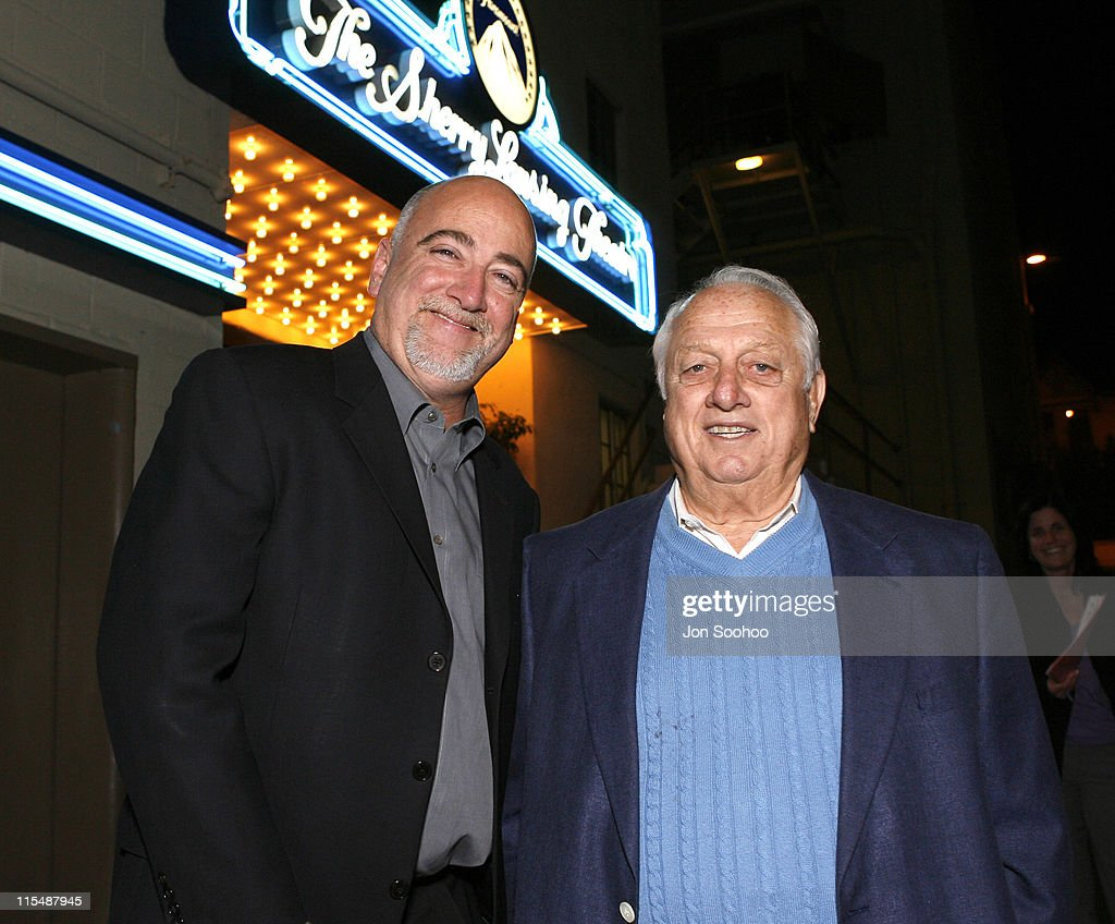 The Los Angeles Times sports columnist Bill Plaschke with Los Angeles Dodgers Hall of Fame Manager Tommy Lasorda at the screening of the movie Bobby...