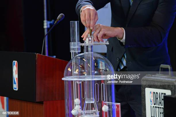 The lottery balls are picked inside the lottery room during the 2017 NBA Draft Lottery at the New York Hilton in New York New York NOTE TO USER User...