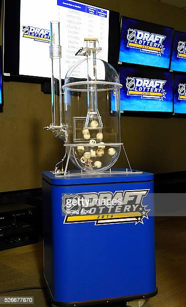 The lottery bless are loaded into the machine during The National Hockey League Draft Lottery at the CBC Studios in Toronto Ontario Canada on April...