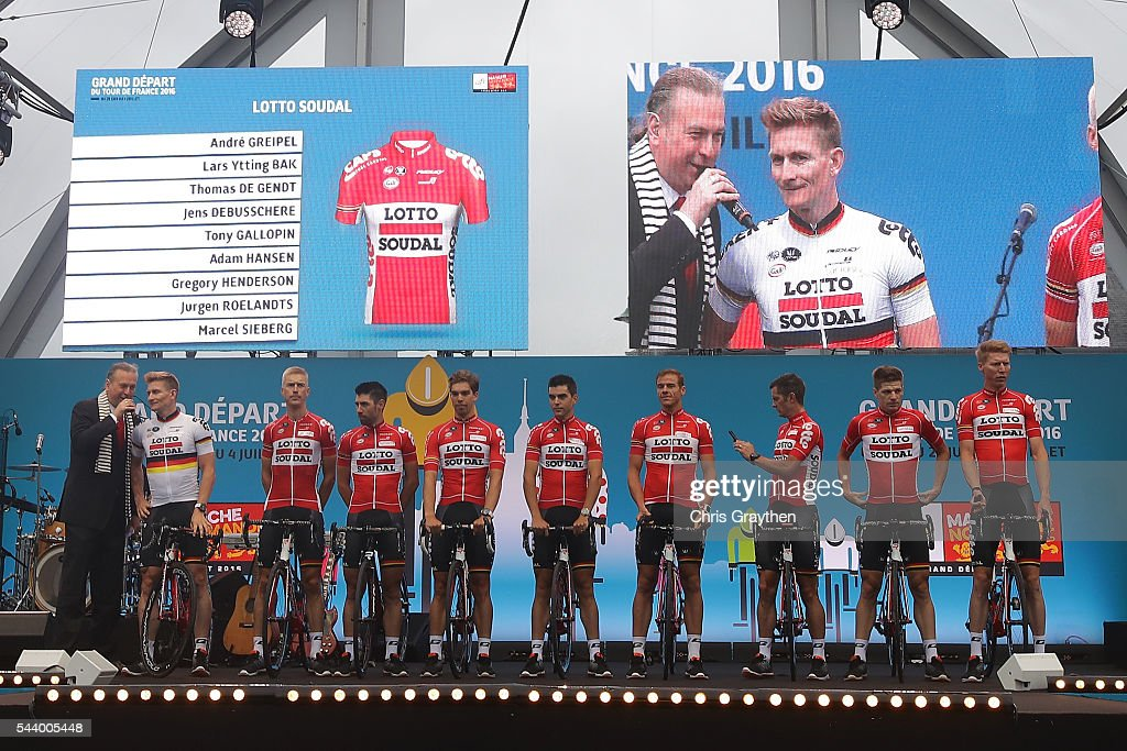 The Lotto Soudal team is introduced during the team presentation ahead of the 2016 Le Tour de France on June 30, 2016 in Sainte-Mere-Eglise, France.