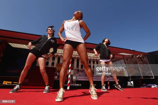 The Loubi's Angels perform at 'Le Carrosse Noir And The Loubi's Angels' presented by Christian Louboutin at Palm Beach Casino during the 63rd Annual...