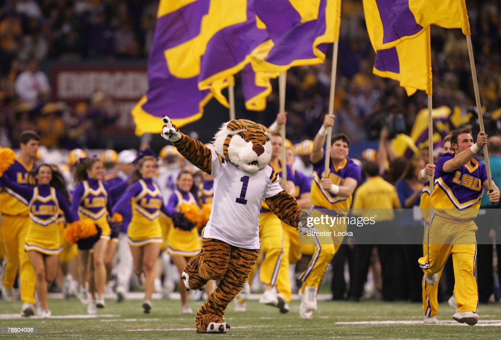 The Louisiana State University Tiger runs on the field before the Tigers take on the Ohio State Buckeyes during the AllState BCS National...