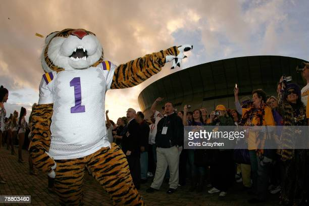The Louisiana State University Tigers mascot 'Mike the Tiger' performs before the AllState BCS National Championship against the Ohio State Buckeyes...