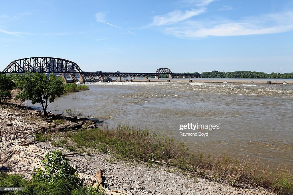 The Louisville and Portland Canal Bridge which spans the Ohio River between Louisville Kentucky and Clarksville Indiana on May 31 2014 in Clarksville...