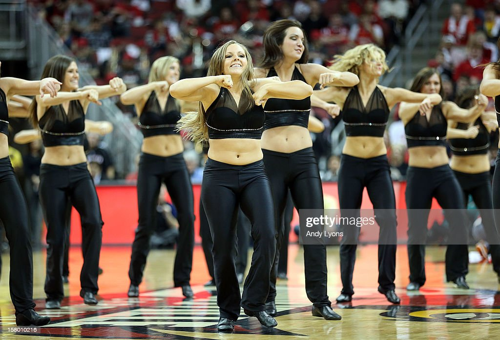 The Louisville Cardinals dance team performs during the game against the Missouri-Kansas City Kangaroos at KFC YUM! Center on December 8, 2012 in Louisville, Kentucky.