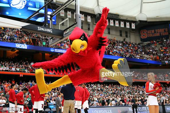 The Louisville Cardinals mascot performs against the Michigan State Spartans during the East Regional Final of the 2015 NCAA Men's Basketball...